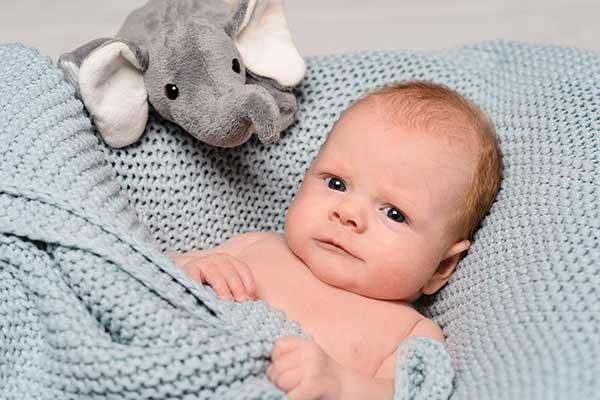 Babyfoto mit Stofftier